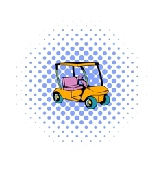 Golf car icon comics style vector image