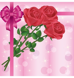 Greeting or invitation card with roses and bow vector
