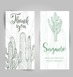 Hand drawn saguaro cactus vector
