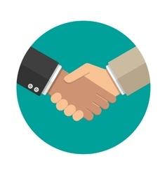 Handshake icon in flat style vector