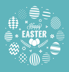 happy easter headline in circle eggs frame vector image