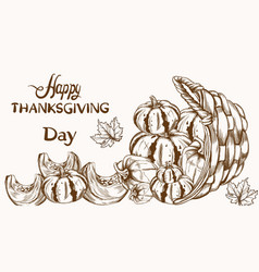 Happy thanksgiving card pumpkin line art basket vector