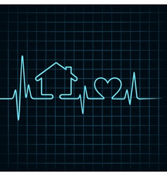 Heartbeat make a home and heart icon vector