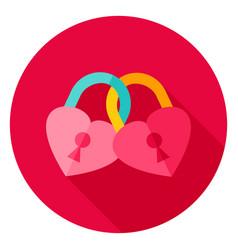 Hearts padlock circle icon vector