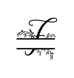 Initial f decorative plant monogram split letter vector