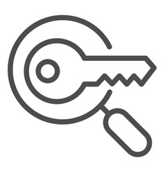 Keyword search line icon magnifying glass and key vector