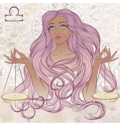 Libra as a portrait of beautiful african girl vector image