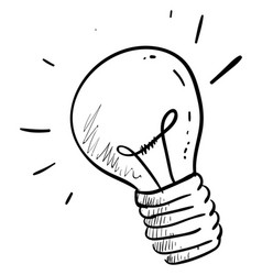 lighting bulb drawing on white background vector image