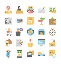logistic delivery flat icons collection vector image