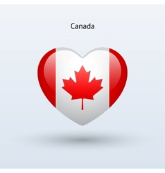 Love Canada symbol Heart flag icon vector image