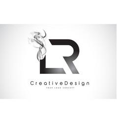 Lr letter logo design with black smoke vector