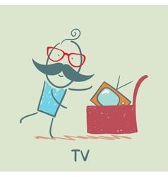 man bought a TV vector image vector image