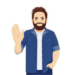 Man stop gesture vector