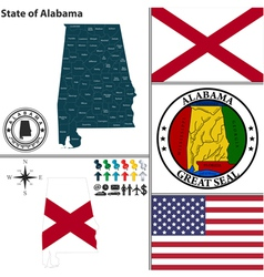 map alabama with seal vector image