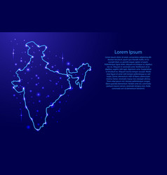 map india from the contours network blue luminous vector image
