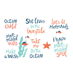 Mermaid party hand drawn blue lettering set vector