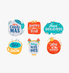 merry christmas and happy new year icons set vector image