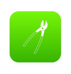 metal shears icon digital green vector image