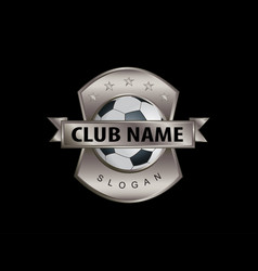 metal shield soccer logo black background vector image