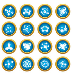 molecule icons set simple style vector image