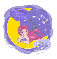 moon mermaid space cartoon princess vector image
