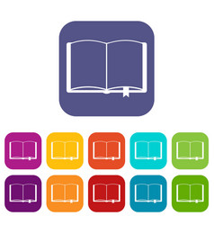 open book with bookmark icons set vector image