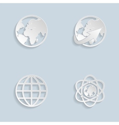 Paper Globe earth icons set vector