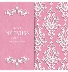 Pink Floral 3d Wedding Invitation vector