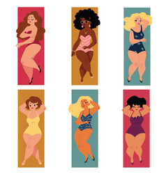 Plump overweight plus size curvy women girls in vector