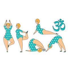 plus size woman doing yoga exercises vector image