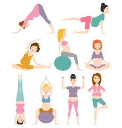 Pregnant woman yoga vector image