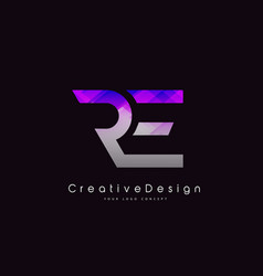 Re letter logo design purple texture creative vector