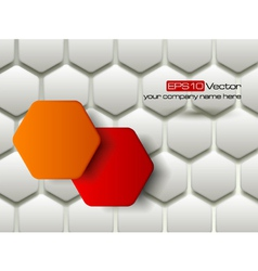Red and orange hexagons technology background vector image
