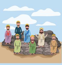 Scene in desert with apostles sitting on the rocks vector