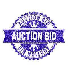 scratched textured auction bid stamp seal with vector image