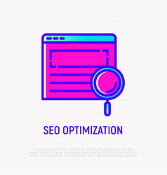Seo optimization line icon magnifier on web page vector