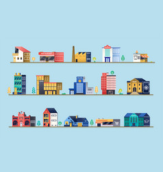 Set city buildings vector