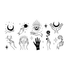 set magic symbols witches tattoos crescent vector image