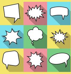 set of nine cartoon comic balloon speech bubbles vector image