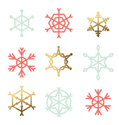 Set of nine snowflakes vector