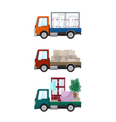 Set of small cargo trucks vector