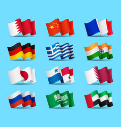set of waving flags icons isolated official vector image