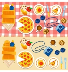 Set picnic on the grass vector image