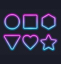 set pink blue glowing neon frames on dark vector image