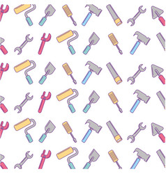 set tools pattern background vector image