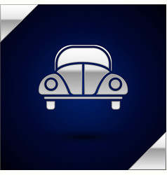 Silver car volkswagen beetle icon isolated on dark vector