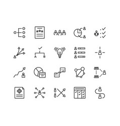 simple set management related line icons vector image