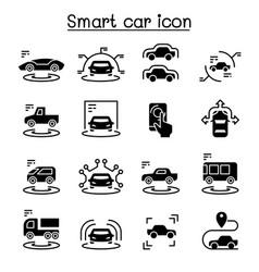 Smart car icons set vector