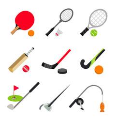 Sport ball game table tennis badminton golf vector