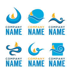 Summer wave collection of logo emblemsstickers vector